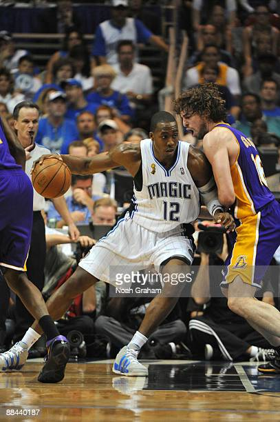 Dwight Howard of the Orlando Magic posts up Pau Gasol of the Los Angeles Lakers during Game Four of the 2009 NBA Finals at Amway Arena on June 11...