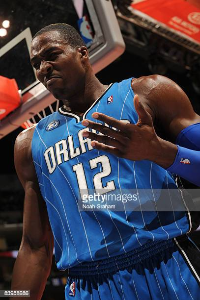 Dwight Howard of the Orlando Magic reacts during the game against the Los Angeles Clippers at Staples Center on December 8 2008 in Los Angeles...