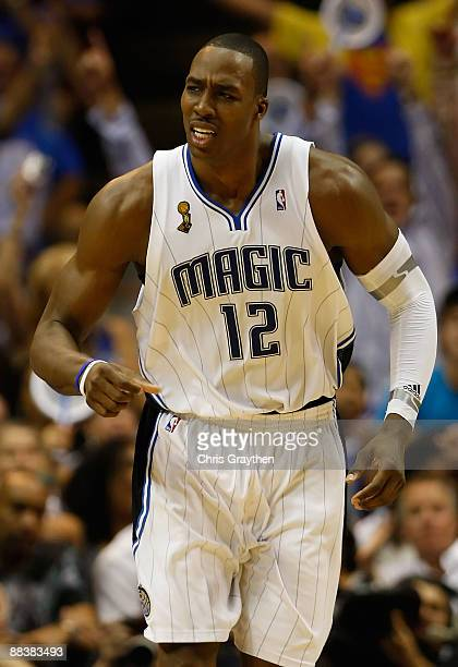 Dwight Howard of the Orlando Magic reacts in the fourth quarter in Game Three of the 2009 NBA Finals against the Los Angeles Lakers on June 9 2009 at...