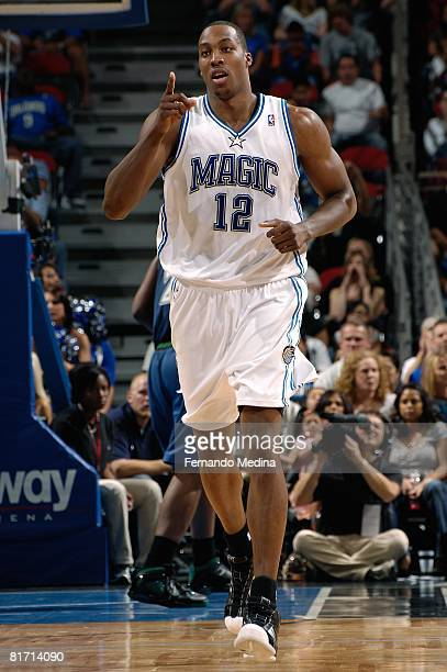 Dwight Howard of the Orlando Magic reacts to a play during the game against the Minnesota Timberwolves on April 11 2008 at Amway Arena in Orlando...