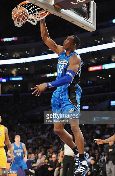 Dwight Howard of the Orlando Magic slam dunks during the game against the Los Angeles Lakers at Staples Center on January 18 2010 in Los Angeles...