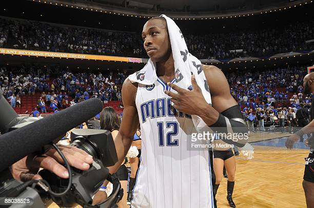Dwight Howard of the Orlando Magic stands on the court following Game Five of the Eastern Conference Quarterfinals against the Philadelphia 76ers...