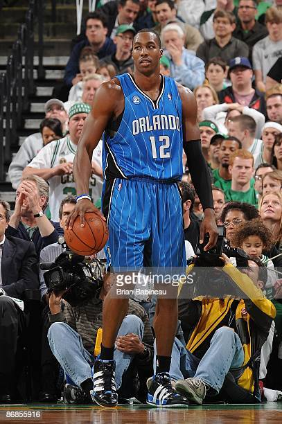 Dwight Howard of the Orlando Magic stands on the court in Game One of the Eastern Conference Semifinals against the Boston Celtics during the 2009...