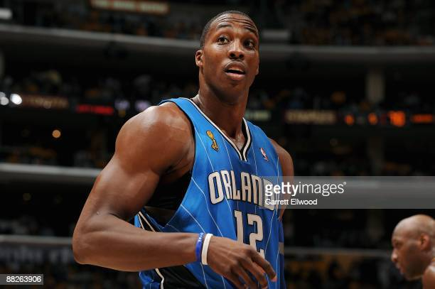 Dwight Howard of the Orlando Magic takes a break from the action during Game One of the 2009 NBA Finals against of the Los Angeles Lakers at Staples...