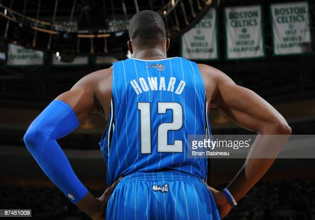 Dwight Howard of the Orlando Magic waits for the play during the game against the Boston Celtics in Game Seven of the Eastern Conference Semifinals...