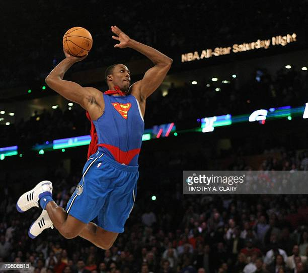 Dwight Howard of the Orlando Magic wearing a Superman cape in the Sprite SlamDunk Contest at the New Orleans Arena during the 2008 NBA AllStar...