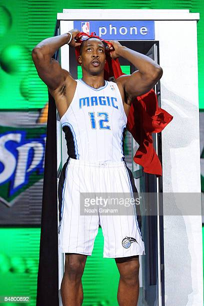 Dwight Howard of the Orlando Magic wears a Superman cape as he participates in the Sprite Slam Dunk Contest on AllStar Saturday Night part of 2009...