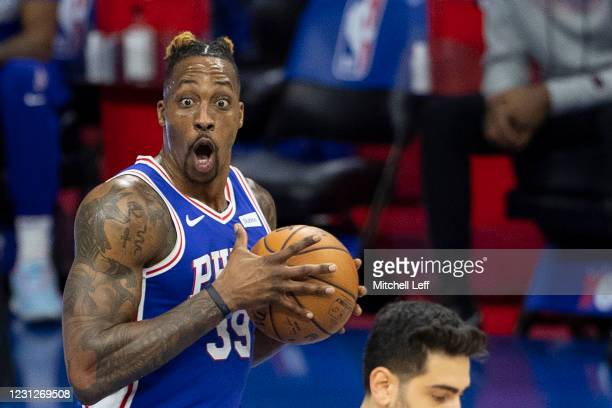 Dwight Howard of the Philadelphia 76ers reacts during action against the Chicago Bulls in the first quarter at Wells Fargo Center on February 19,...