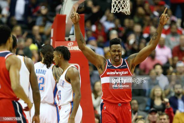 Dwight Howard of the Washington Wizards reacts after a play against the Oklahoma City Thunder during the first half at Capital One Arena on November...