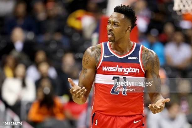 Dwight Howard of the Washington Wizards reacts after a play against the Cleveland Cavaliers during the first half at Capital One Arena on November 14...