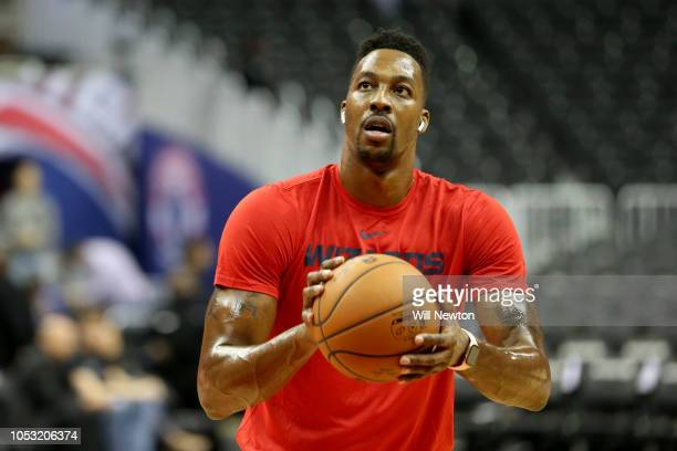 Dwight Howard of the Washington Wizards warm up prior to a preseason NBA game against the Miami Heat at Capital One Arena on October 5 2018 in...