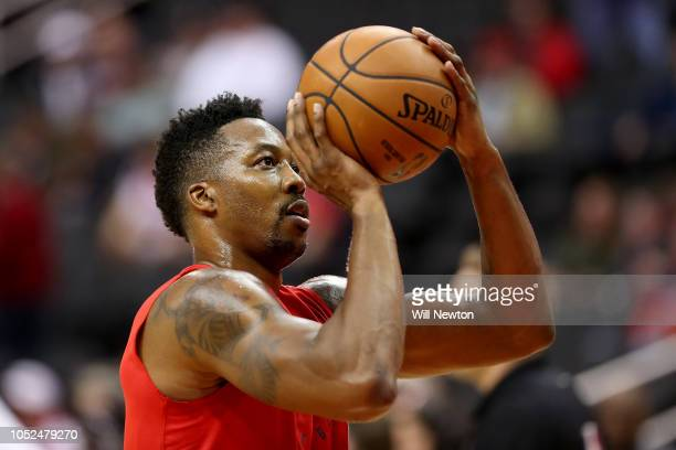 Dwight Howard of the Washington Wizards warms up before the start of the Wizards home opener against the Miami Heat at Capital One Arena on October...