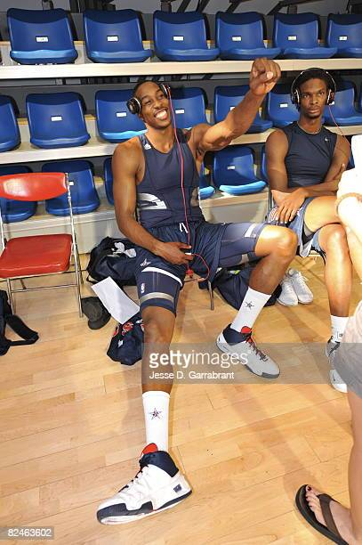 Dwight Howard of US Men's Senior National Team prepares for practice during the 2008 Beijing Summer Olympics on August 19 2008 at the USOC training...