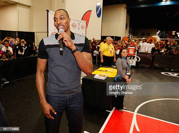 Dwight Howard talks to fans at Kia MVP Court during the 2013 NBA Jam Session on February 14 2013 at the George R Brown Convention Center in Houston...