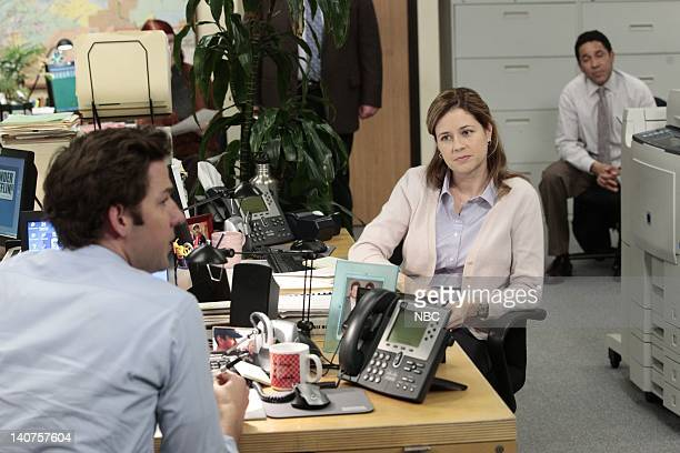 THE OFFICE Dwight K Schrute Manager Episode 724 Pictured John Krasinski as Jim Halpert Jenna Fischer as Pam Beesly Oscar Nunez as Oscar Martinez...