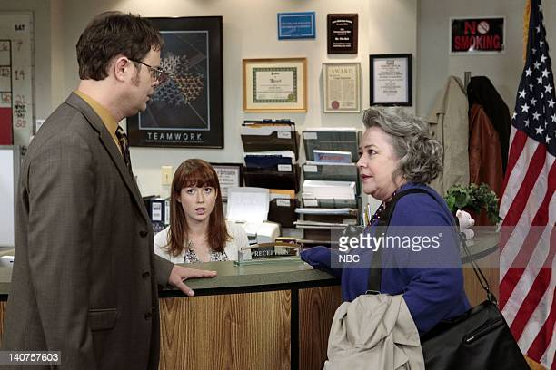 THE OFFICE Dwight K Schrute Manager Episode 724 Pictured Rainn Wilson as Dwight Schrute Ellie Kemper as Kelly Erin Hannon Kathy Bates as Jo Bennett...