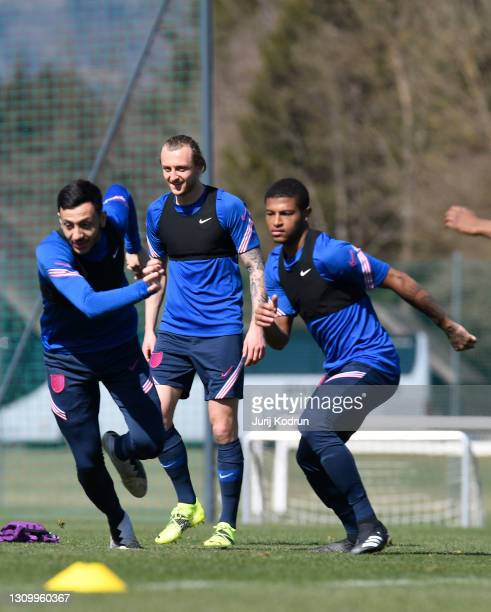 Dwight McNeil, Ben Wilmot and Rhian Brewster of England take part in an England Under-21 Training Session at NNC Brdo on March 30, 2021 in Kranj,...