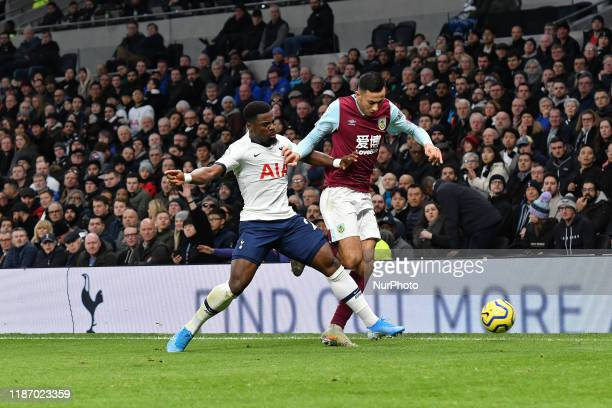 Dwight McNeil of Burnley battles for possession with Serge Aurier of Tottenham during the Premier League match between Tottenham Hotspur and Burnley...