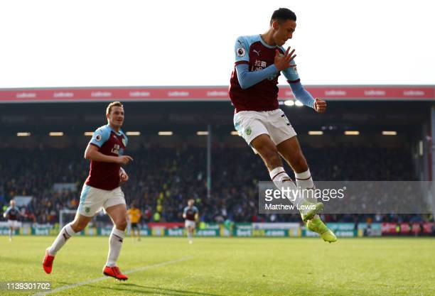 Dwight McNeil of Burnley celebrates after scoring his team's second goal during the Premier League match between Burnley FC and Wolverhampton...