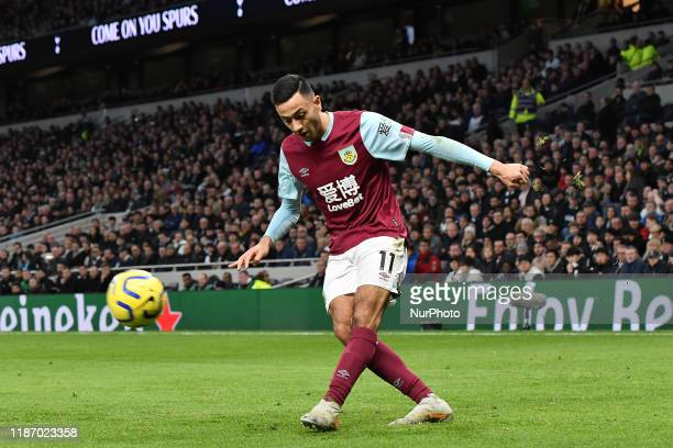 Dwight McNeil of Burnley in action during the Premier League match between Tottenham Hotspur and Burnley at White Hart Lane London on Saturday 7th...
