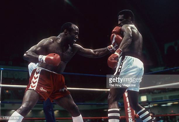 Dwight Muhammad Qawi lands a punch against Michael Spinks during the fight at the Convention Center in Atlantic City New Jersey Michael Spinks won...