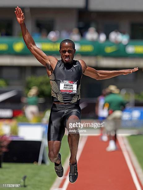 Dwight Phillips jumps in the Men's long jump during the 2011 USA Outdoor Track Field Championships at Hayward Field on June 25 2011 in Eugene Oregon