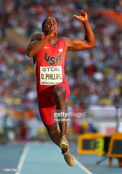 Dwight Phillips of the United States competes in the Men's Long Jump final during Day Seven of the 14th IAAF World Athletics Championships Moscow...