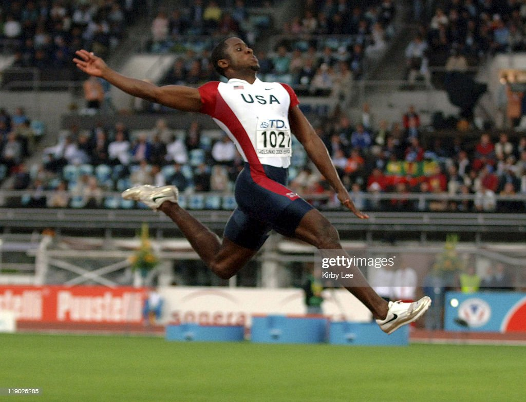 Dwight Phillips of the United States won the men's long jump at 28-2 3/4 (8.60m) in the IAAF World Championships in Athletics at Olympic Stadium in Helsinki, Finland on Saturday, August 13, 2005.