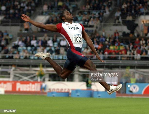 Dwight Phillips of the United States won the men's long jump at 282 3/4 in the IAAF World Championships in Athletics at Olympic Stadium in Helsinki...