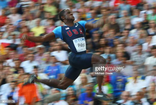 Dwight Phillips of United States competes in the men's Long Jump Final during day eight of the 12th IAAF World Athletics Championships at the Olympic...