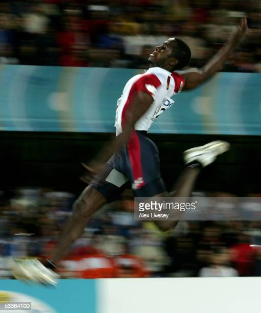 Dwight Phillips of USA competes during men's Long Jump final at the 10th IAAF World Athletics Championships on August 13 2005 in Helsinki Finland