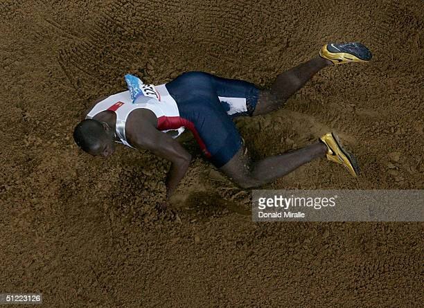 Dwight Phillips of USA competes during the men's long jump final on August 26 2004 during the Athens 2004 Summer Olympic Games at the Olympic Olympic...