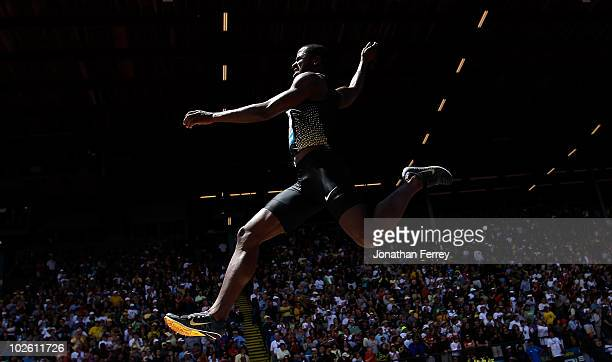 Dwight Phillips of USA jumps in the long jump during the IAAF Diamond League Prefontaine Classic on July 3 2010 at Hayward Field in Eugene Oregon
