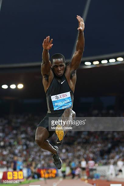 Dwight Phillips of USA on his way to victory in the men's long jump during the Iaaf Diamond League meeting at the Letzigrund Stadium on August 19...