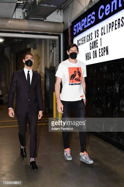 Dwight Powell of the Dallas Mavericks and Boban Marjanovic of the Dallas Mavericks arrives to the arena prior to the game against the LA Clippers...