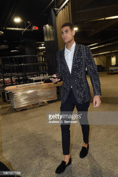 Dwight Powell of the Dallas Mavericks arrives to the arena prior to the game against the Los Angeles Lakers on November 30 2018 at STAPLES Center in...