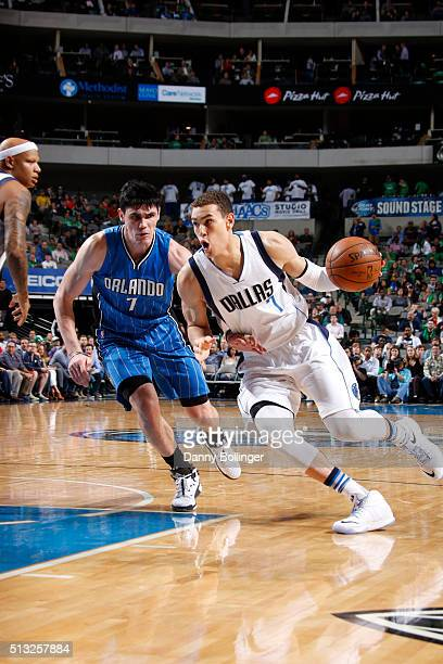 Dwight Powell of the Dallas Mavericks drives against the Orlando Magic on March 1 2016 at the American Airlines Center in Dallas Texas NOTE TO USER...