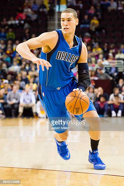 Dwight Powell of the Dallas Mavericks drives down court during the first half of a preseason game against the Cleveland Cavaliers at Quicken Loans...