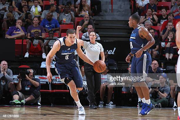 Dwight Powell of the Dallas Mavericks drives to the basket against the Atlanta Hawks during the game on July 18 2015 at Thomas And Mack Center Las...