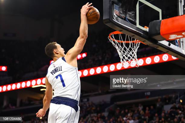 Dwight Powell of the Dallas Mavericks dunks the ball against the Minnesota Timberwolves in the second quarter at Target Center on January 11 2019 in...