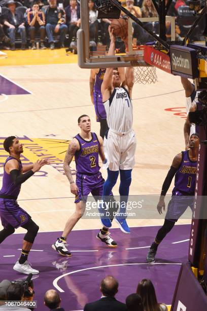 Dwight Powell of the Dallas Mavericks dunks the ball against the Los Angeles Lakers on November 30 2018 at STAPLES Center in Los Angeles California...