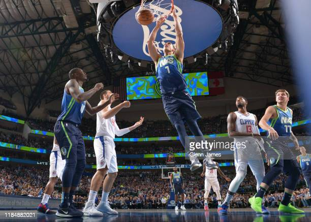 Dwight Powell of the Dallas Mavericks dunks the ball against the LA Clippers on November 26 2019 at the American Airlines Center in Dallas Texas NOTE...
