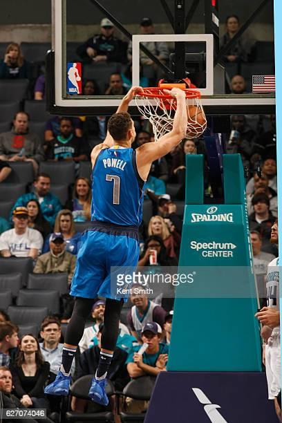 Dwight Powell of the Dallas Mavericks dunks the ball against the Charlotte Hornets on December 1 2016 at Spectrum Center in Charlotte North Carolina...