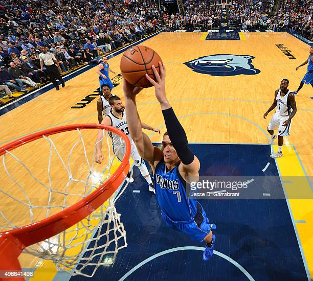Dwight Powell of the Dallas Mavericks dunks the ball during the game against the Memphis Grizzlies on November 24 2015 at FedEx Forum in Memphis...