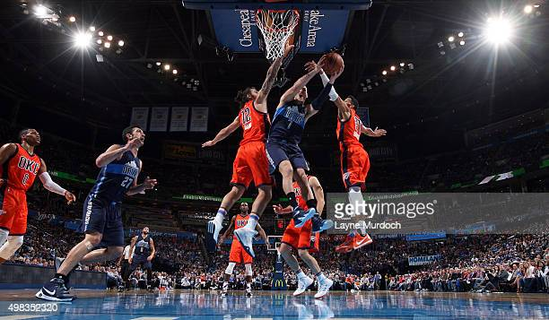 Dwight Powell of the Dallas Mavericks goes to the basket against the Oklahoma City Thunder on November 22 2015 at Chesapeake Energy Arena in Oklahoma...