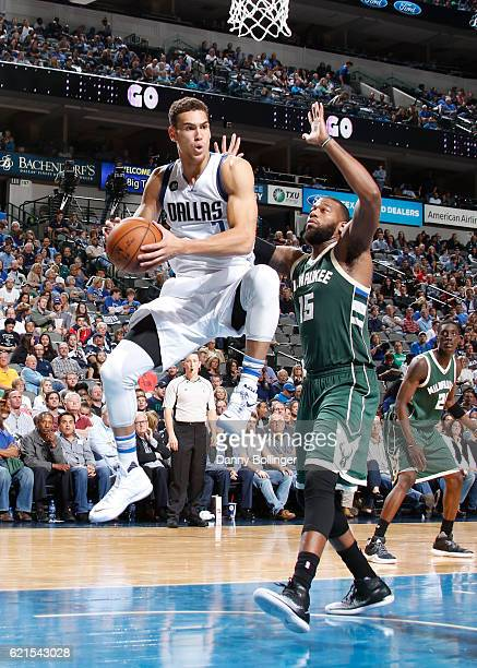Dwight Powell of the Dallas Mavericks grabs a rebound against the Milwaukee Bucks on November 6 2016 at the American Airlines Center in Dallas Texas...