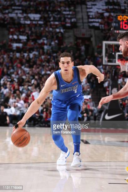 Dwight Powell of the Dallas Mavericks handles the ball against the Portland Trail Blazers on March 20 2019 at the Moda Center Arena in Portland...