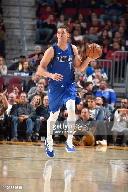 Dwight Powell of the Dallas Mavericks handles the ball against the Cleveland Cavaliers on November 3 2019 at Quicken Loans Arena in Cleveland Ohio...