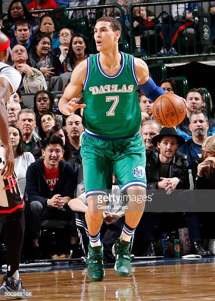 Dwight Powell of the Dallas Mavericks handles the ball against the Houston Rockets on December 4 2015 at the American Airlines Center in Dallas Texas...