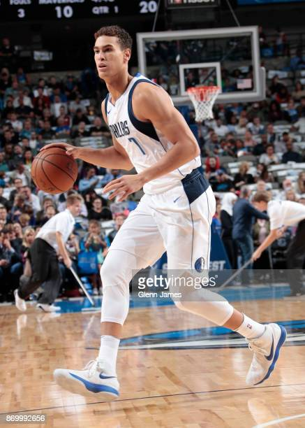 Dwight Powell of the Dallas Mavericks handles the ball against the New Orleans Pelicans on November 3 2017 at the American Airlines Center in Dallas...